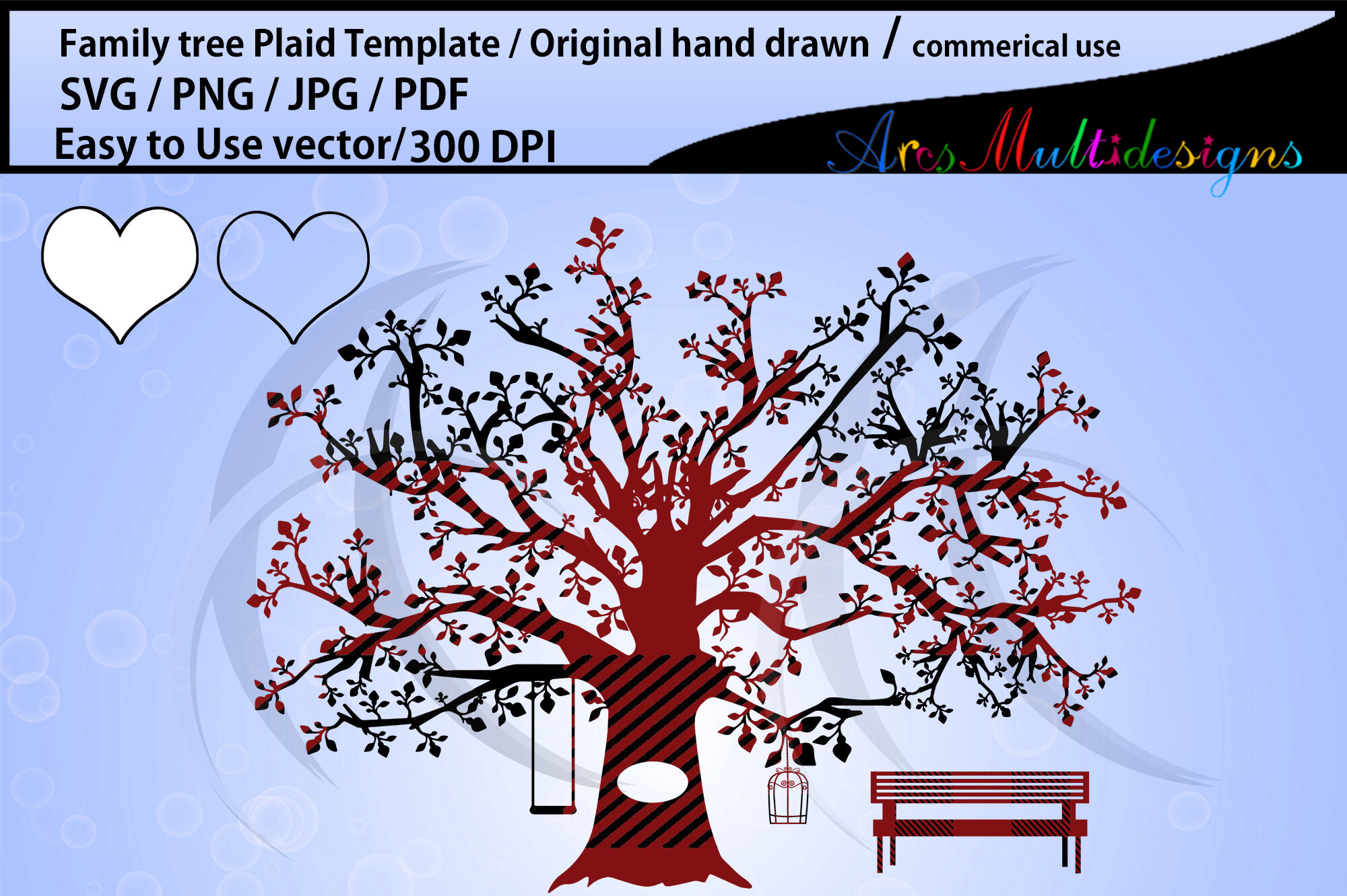 family tree clipart Plaid SVG template, Png, Pdf, Jpg.