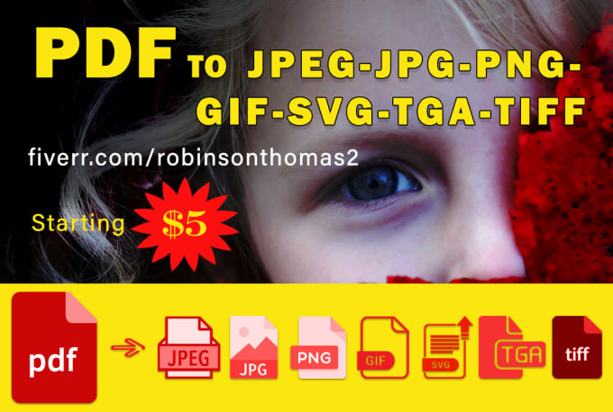 convert PDF to jpeg, jpg, png, gif, svg, tga, tiff.