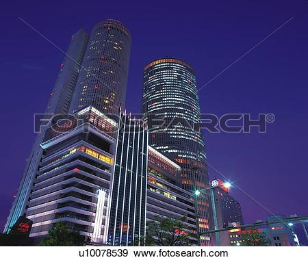 Stock Photograph of JR Central Towers, Nagoya City, Japan, Low.