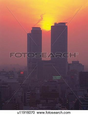 Stock Photography of JR Central Towers and Sunset, Nagoya City.