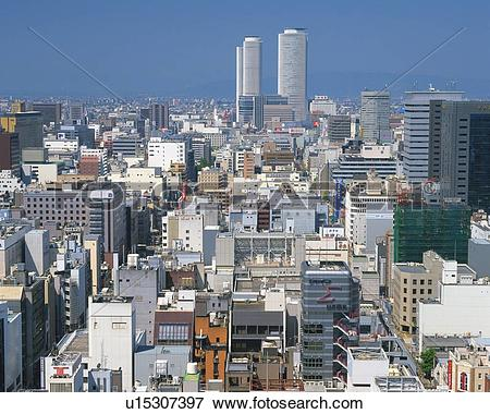 Picture of JR Central Towers, Nagoya City, Japan, High Angle View.