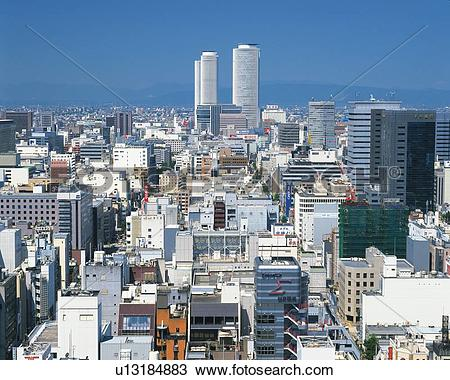 Stock Photo of JR Central Towers, Nagoya City, Japan, High Angle.