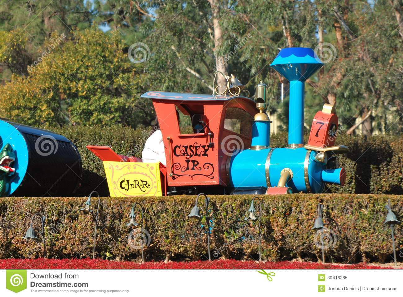 Casey Jr. Train Attraction Riding Through Disneyland, California.