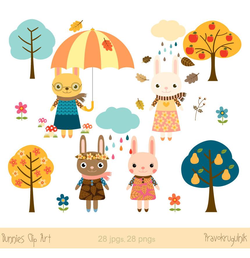 Nursery art animals clip art Easter bunny clipart Autumn.