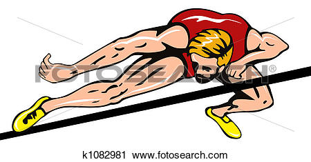 Clipart of Athlete doing the high ju k1082981.