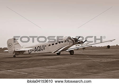 Stock Photography of Junkers JU 52, historical trimotor transport.