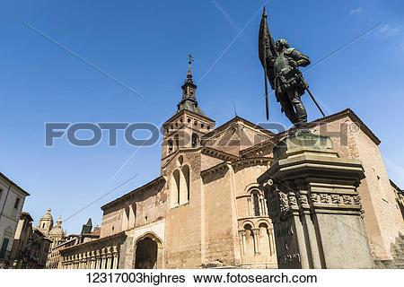 Stock Images of San Martin Church and Juan Bravo statue, Romanic.