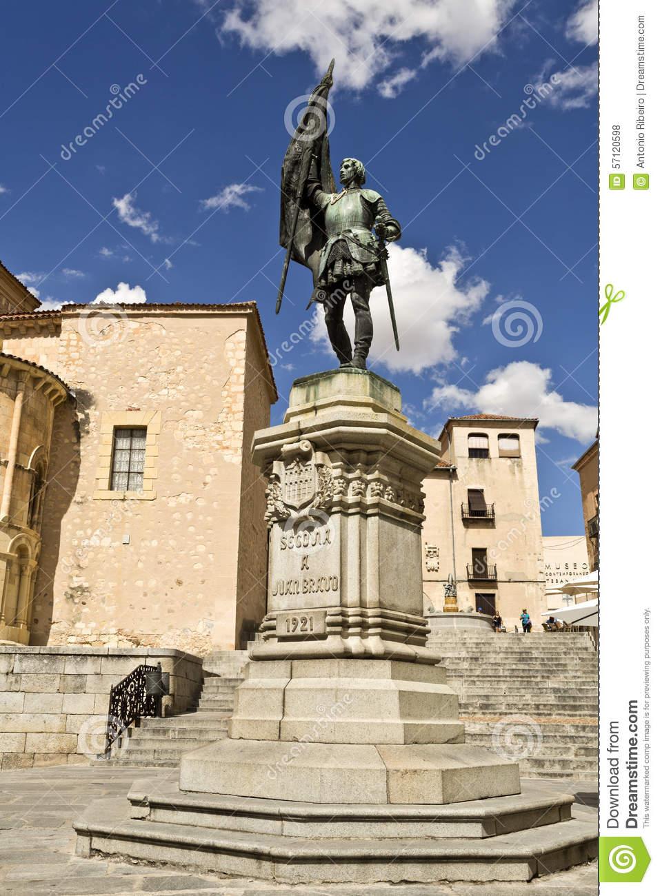Segovia Statue To Juan Bravo Stock Photo.