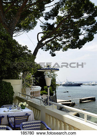 Stock Photography of Lodge and balcony at The Hotel Belles Rives.