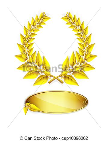 Clip Art Vector of Gold laurel wreath and label for jubilee text.