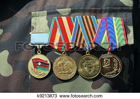 Stock Photo of soviet and ukrainian jubilee medals k9213873.