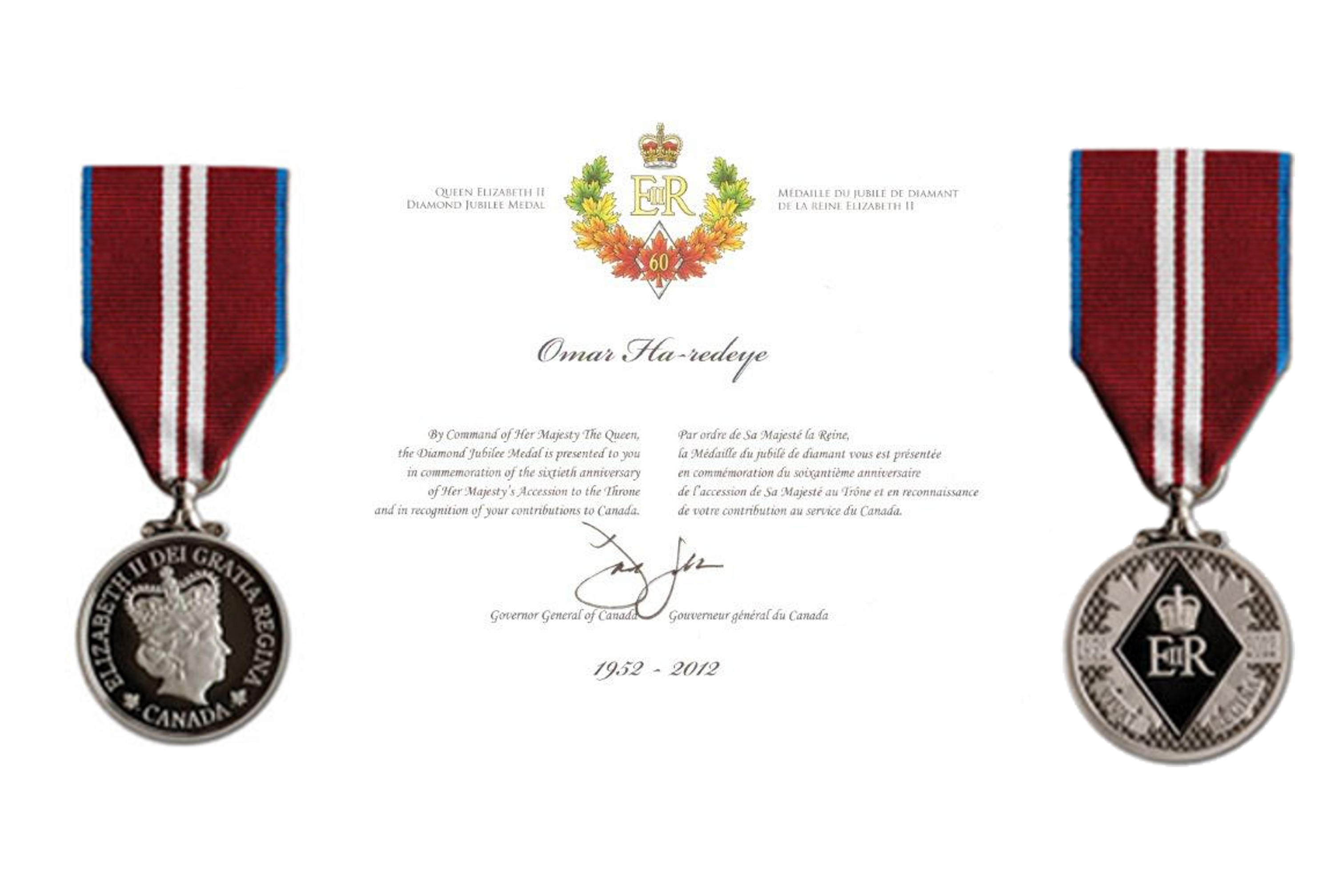 Queen Elizabeth II Diamond Jubilee Medal Recipient.