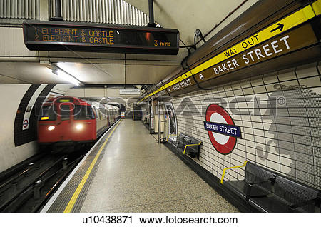 Stock Photography of England, London, Baker Street. A tube train.