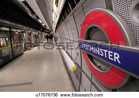 Stock Images of England, London, Westminster. A tube train.
