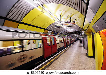 Stock Photography of England, London, Baker Street. A tube train.