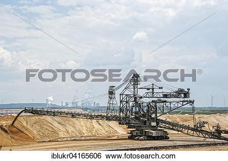 Stock Images of Lignite excavator, opencast lignite mining, RWE.