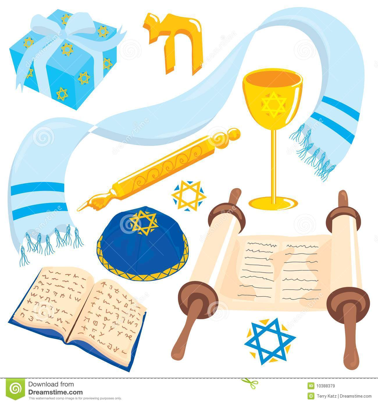 Judaism Elements Collection Stock Photos.