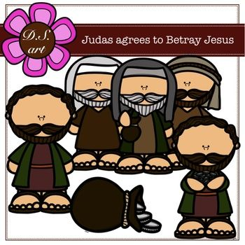 Judas Agrees to Betray Jesus Digital Clipart (color and.