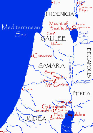Map of the provinces of Galilee, Samaria and Judea at the time of.