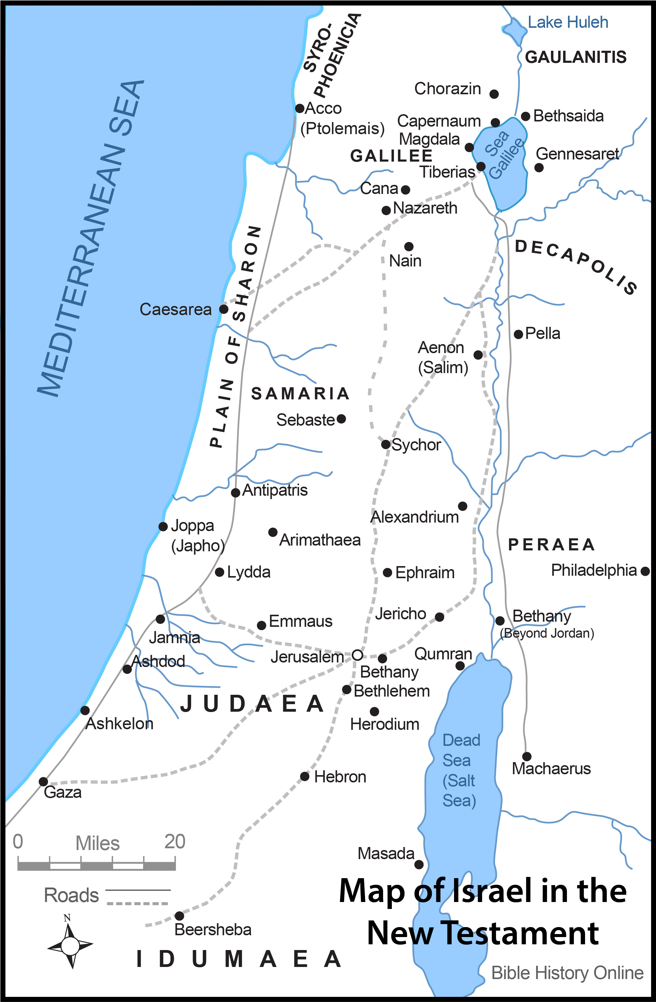 Map of Israel in the Time of Jesus Christ with Roads (Bible.