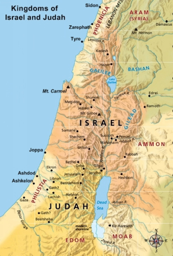 Map of Israel and Judah.