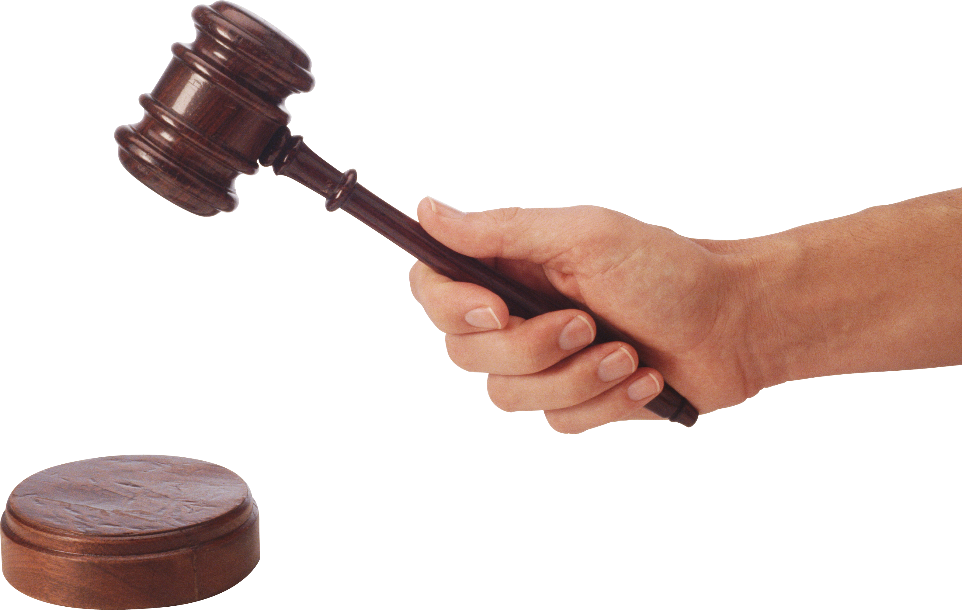 Gavel Judge Hammer in hand PNG Image.