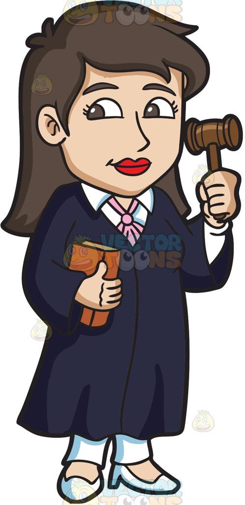 A Female Judge Holding A Gavel Cartoon Clipart.