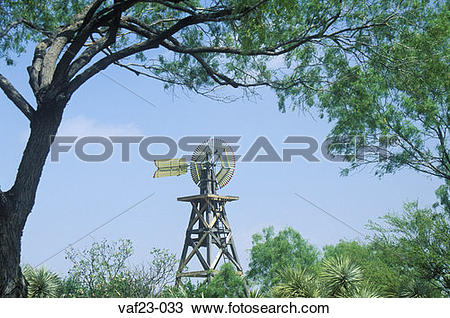Stock Photo of 1904 windmill on site of Judge Roy Bean in Langtry.