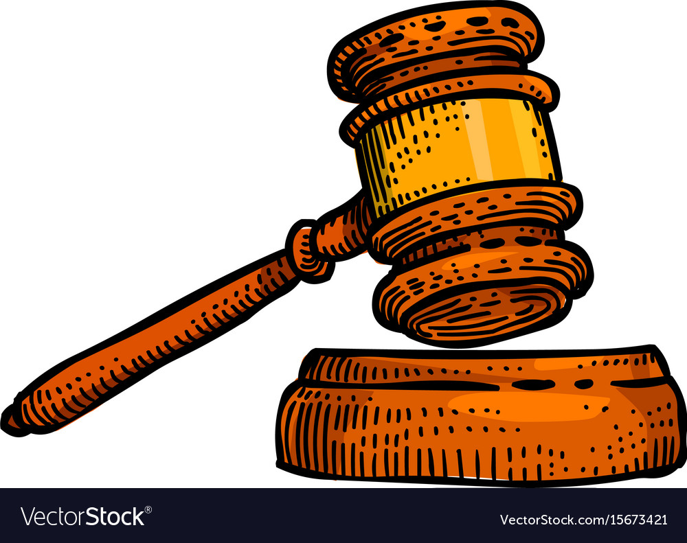 Cartoon image of law icon judge gavel symbol.