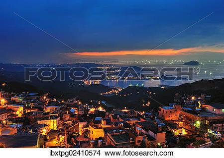 "Stock Photo of ""Sunset, Jiufen mountain in Xinbei, Taiwan, China."