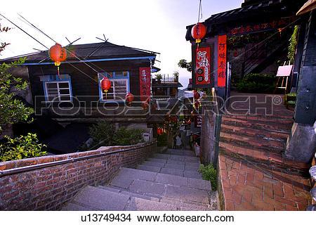 Stock Photo of Asia, Taiwan, Taipei, Jiufen, old houses u13749434.