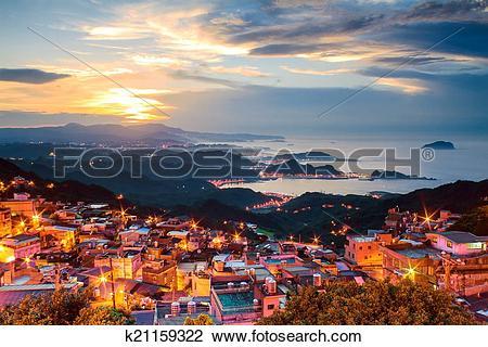 Stock Photo of The seaside mountain town scenery in Jiufen.
