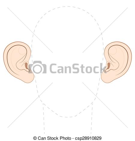Vector Illustration of Stick Out Ears Protruding Jug Ears.