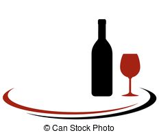 Stock Illustration of Red wine jug in silhouette.
