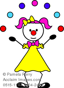 Clip Art Image of a Female Stick Figure Clown Juggling.