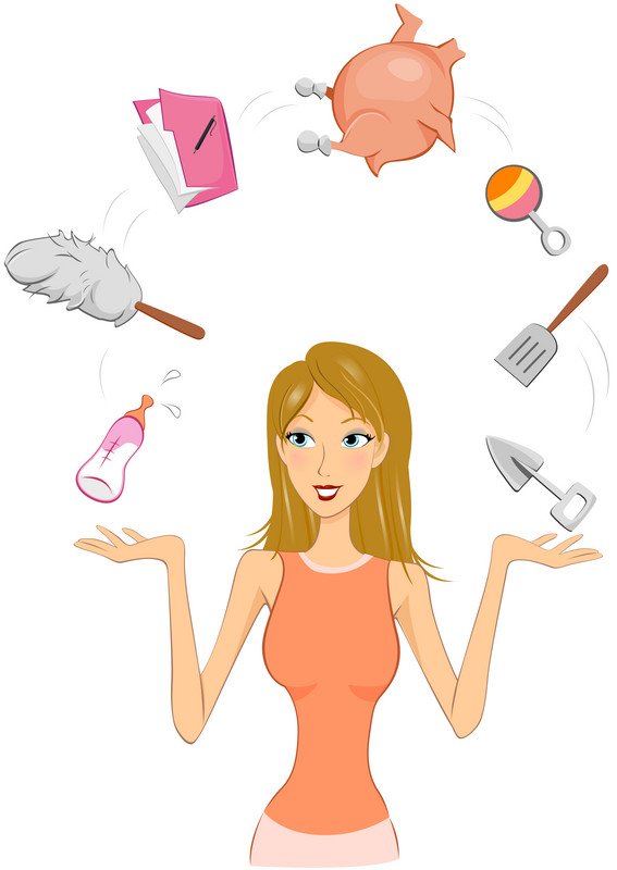 Juggling mom clipart.