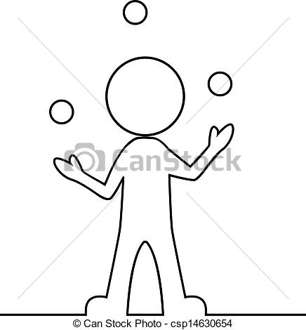 Clipart Vector of Simple man juggling with balls.