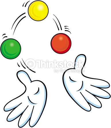 Cartoon Hands Juggling Balls Stock Illustration.