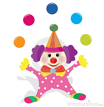 Juggling clown clipart.
