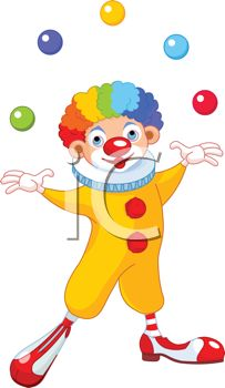 Cartoon of a Happy Clown with Rainbow Hair Juggling Balls.