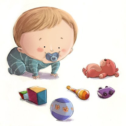 bebe jugando con juguetes Clipart Image.
