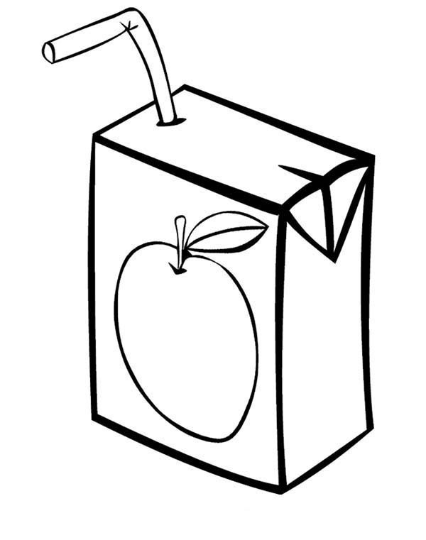 Juice Box Clipart Black And White.