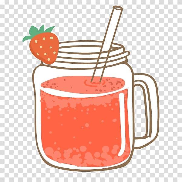 Clear glass mason jar illustration with strawberry juice.