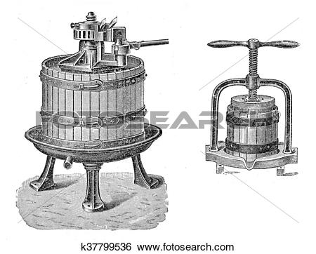 Stock Illustration of Vintage agriculture: wine and juice press.
