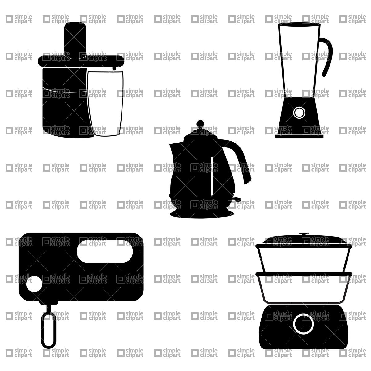 Pictograms of steamer, blender, mixe, juicer and kettle Vector.