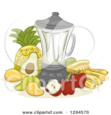 Clipart of a Sketched Blender and Fruits.