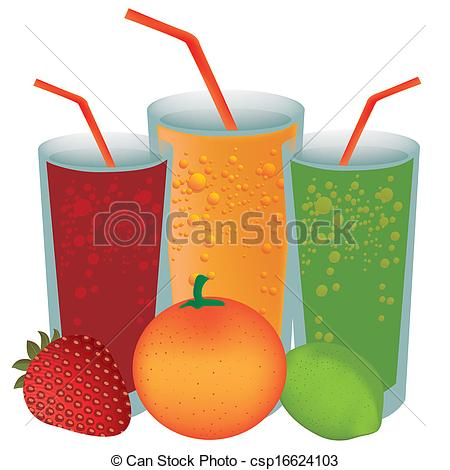 Vector Clipart of juices and fruits.