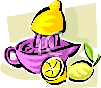 Clipart Picture of a Manual Juicer Juicing Lemons.