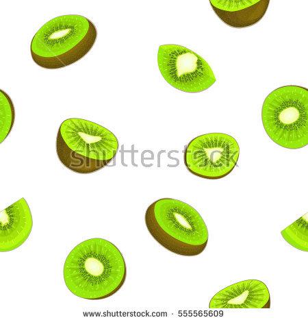 Seamless Vector Pattern Ripe Kiwifruit White Stock Vector.