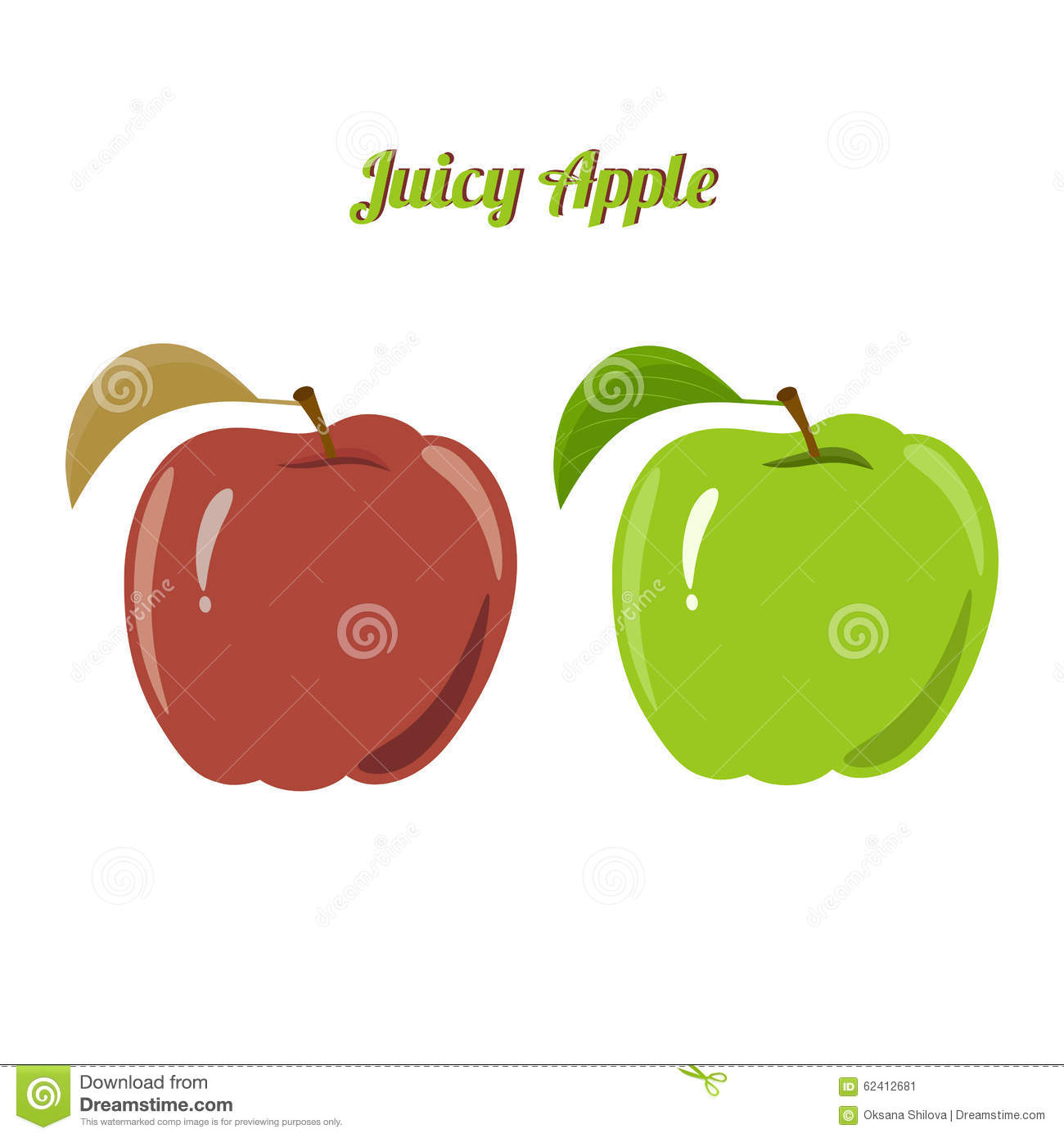 Set Of Juicy Green And Red Apples Isolated On A Stock Vector.